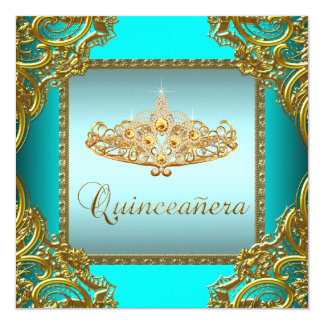 "Teal Blue Gold Tiara Quinceanera 5.25"" Square Invitation Card"