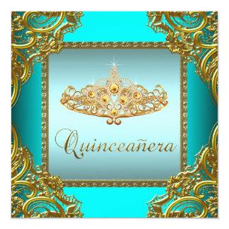 Teal Blue Gold Tiara Quinceanera Card