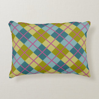 Teal Blue Gold Yellow Magenta Pattern Decorative Pillow