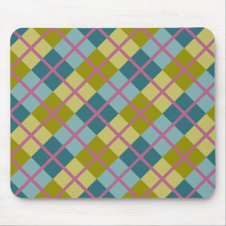 Teal Blue Gold Yellow Magenta Pattern Mouse Pad
