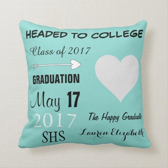 Teal Blue Graduation Celebration Throw Pillow