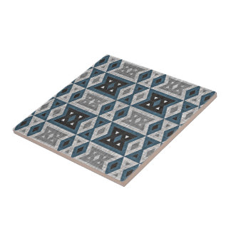 Teal Blue Gray Black Eclectic Ethnic Look Tile