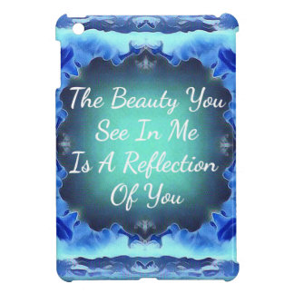 Teal Blue Green Beauty Reflection Quote iPad Mini Cases