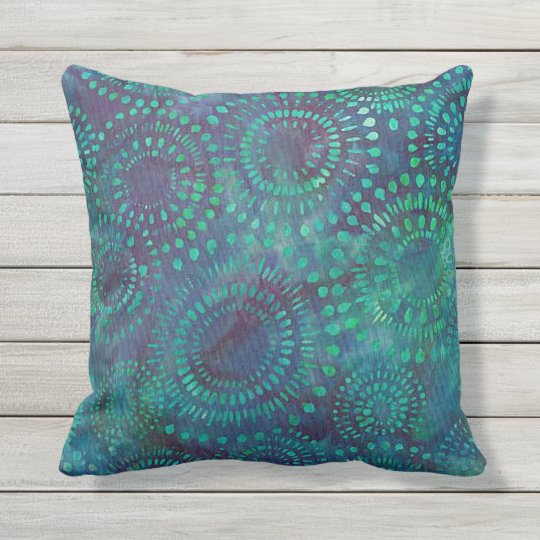 Teal Blue Green Bohemian Batik Pattern Design Outdoor Pillow