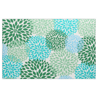 Teal Blue Green Bold Large Dahlias design Fabric
