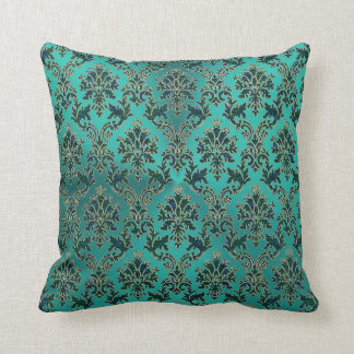 Teal Blue Green Damask on Shiny Teal Throw Pillow