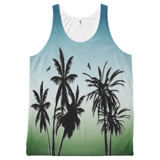 Teal Blue Green Fade Night Sunset Palm Trees All-Over-Print Tank Top