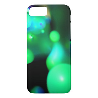 TEAL BLUE GREEN FRACTAL BUBBLES IN BLACK iPhone 8/7 CASE