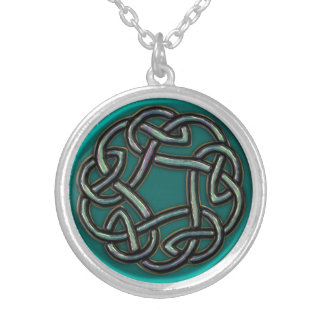 Teal Blue Green Metal Celtic Knot Necklace