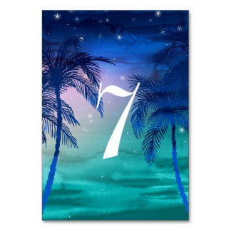 Teal Blue & Green Palm Tree Table Numbers Table Cards