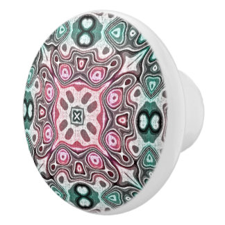 Teal Blue Green Pastel Pink Hip ornate Art Motif Ceramic Knob