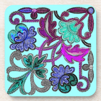 TEAL BLUE GREEN PURPLE  LACE FLOWERS COASTER