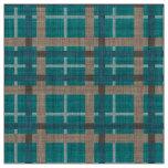 Teal Blue Green Taupe Brown Tartan Squares Pattern Fabric