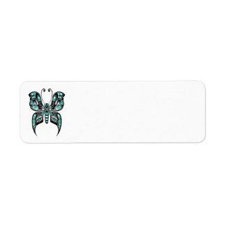 Teal Blue Haida Spirit Butterfly Return Address Label