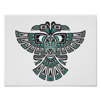 Teal Blue Haida Two Headed Spirit Bird on White Poster