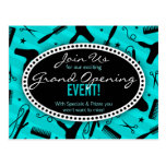 Teal Blue Hair Salon Grand Opening Post Cards