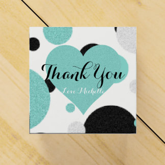 Teal Blue Heart Polka Dot Party Favor Boxes