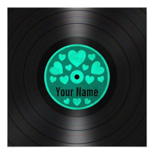 Teal Blue Hearts Personalized Vinyl Record Album Custom Invite