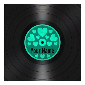 Teal Blue Hearts Personalized Vinyl Record Album Custom Invite