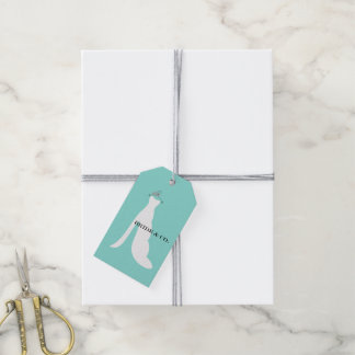 Teal Blue Here Comes The Bride Party Gift Tags