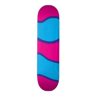 Teal Blue Hot Pink Color Waves Pattern Custom Skate Board