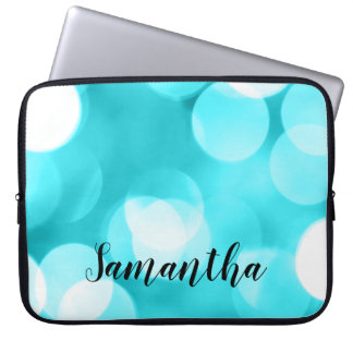 Teal Blue Large Bokeh Lights Personalized Laptop Sleeve