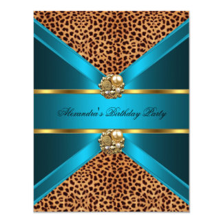 "Teal Blue leopard gold Elegant Black Birthday 4.25"" X 5.5"" Invitation Card"