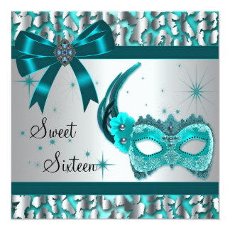 """Teal Blue Leopard Sweet Sixteen Masquerade Party 5.25"""" Square Invitation Card"""