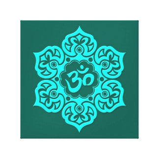 Teal Blue Lotus Flower Om Stretched Canvas Print