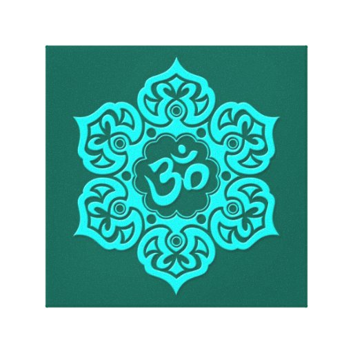 Teal Blue Lotus Flower Om Stretched Canvas Print
