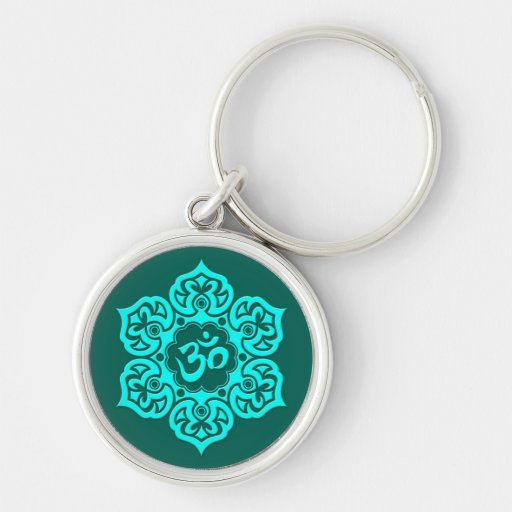 Teal Blue Lotus Flower Om Key Chains