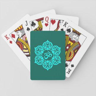 Teal Blue Lotus Flower Om Card Decks
