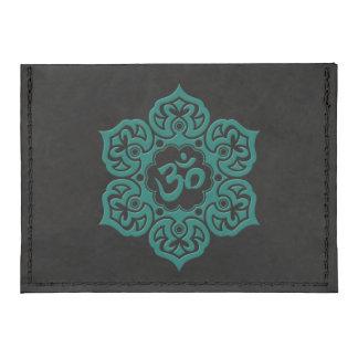 Teal Blue Lotus Flower Om on Black Tyvek® Card Case Wallet