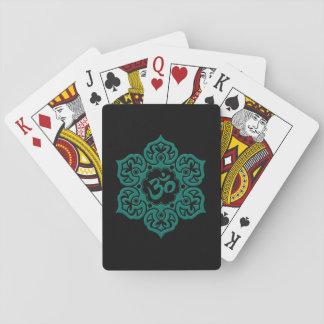 Teal Blue Lotus Flower Om on Black Card Deck