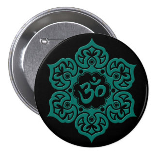 Teal Blue Lotus Flower Om on Black Pin