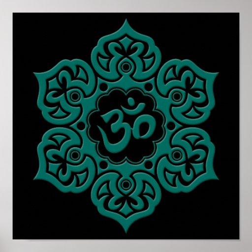 Teal Blue Lotus Flower Om on Black Print