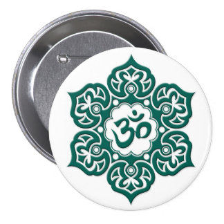 Teal Blue Lotus Flower Om on White Pinback Button