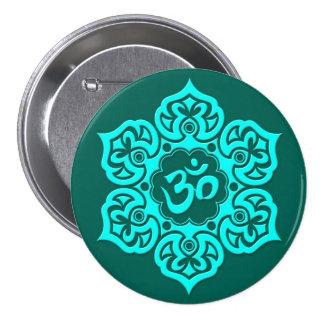 Teal Blue Lotus Flower Om Pinback Buttons