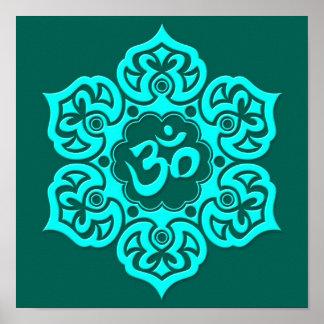 Teal Blue Lotus Flower Om Posters