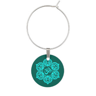 Teal Blue Lotus Flower Om Wine Glass Charm