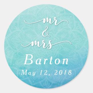 Teal & Blue Mandala Wedding Celebration Round Sticker