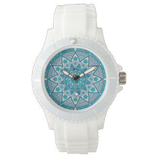 Teal & Blue Mandala Wrist Watch