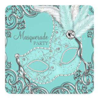 "Teal Blue Masquerade Party 5.25"" Square Invitation Card"