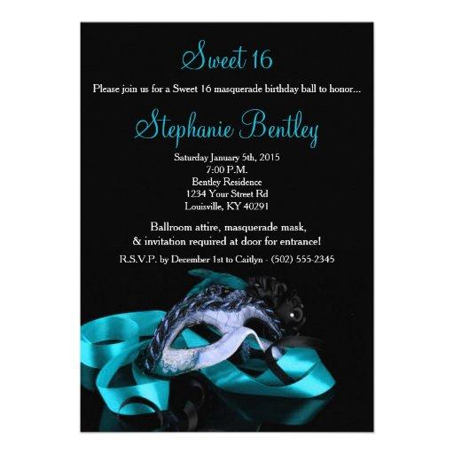 Teal Blue Masquerade Sweet 16 Birthday Invitation