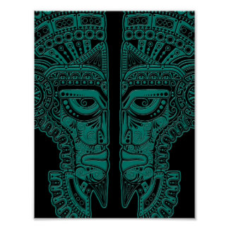 Teal Blue Mayan Twins Mask Illusion on Black Poster