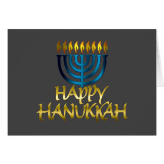 Teal Blue Menorah Flames Happy Hanukkah Card