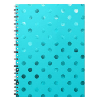 Teal Blue Metallic Polka Dot Pattern Swiss Dots Spiral Notebooks