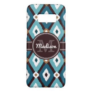 Teal Blue / Mocha Brown Boho Ikat Diamond Pattern Case-Mate Samsung Galaxy S8 Case
