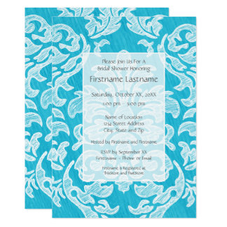 Teal Blue Modern Damask Bridal Shower Party Card