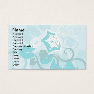 Teal Blue Modern Leaf Flower and Vine Business Card